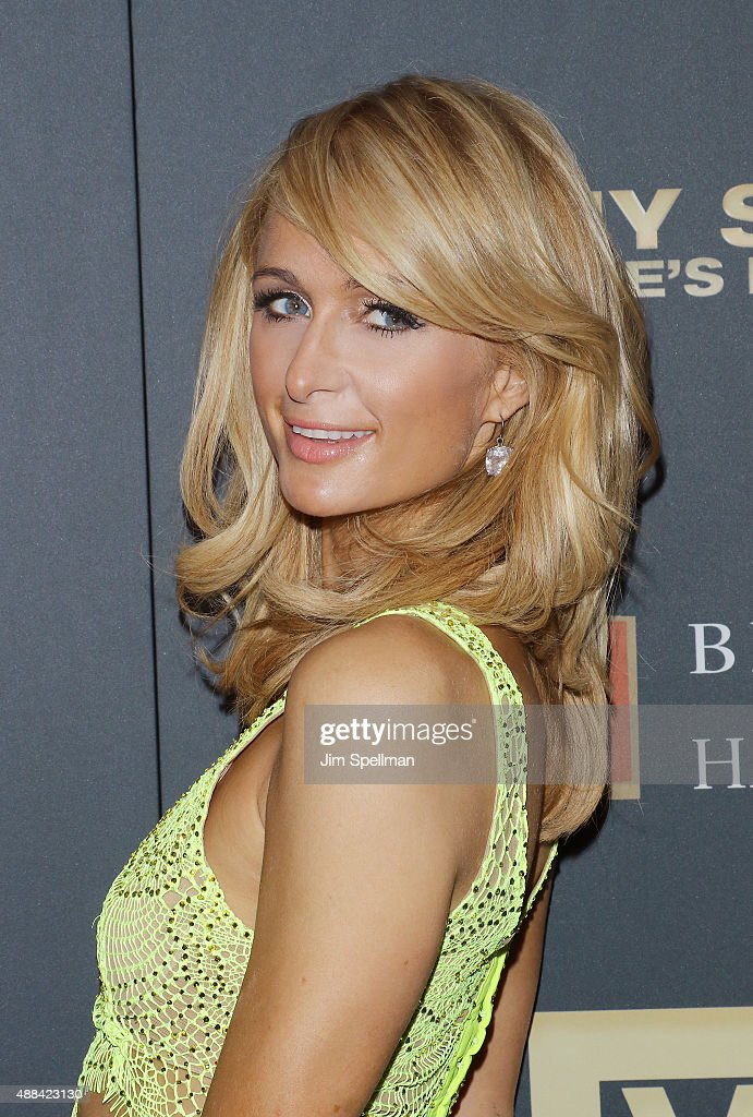 Socialite <a gi-track='captionPersonalityLinkClicked' href=/galleries/search?phrase=Paris+Hilton&family=editorial&specificpeople=171761 ng-click='$event.stopPropagation()'>Paris Hilton</a> attends the 'Jeremy Scott: The People's Designer' New York premiere at The Paris Theatre on September 15, 2015 in New York City.