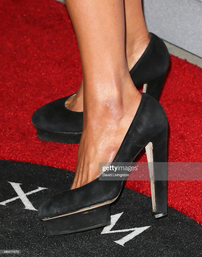 Socialite Paris Hilton (shoe detail) attends the Maxim Hot 100 event at the Pacific Design Center on June 10, 2014 in West Hollywood, California.