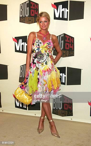 Socialite Paris Hilton attends the VH1 Big in '04 at the Shrine Auditorium December 1 2004 in Los Angeles California