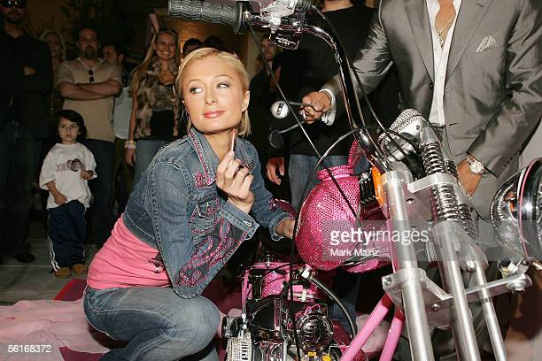 Socialite Paris Hilton receives a $250000 Beverly Hills Chopper at Johnny Fratto's residence November 14 2005 in Beverly Hills California