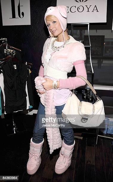 Socialite Paris Hilton visits the Rock Band Lounge on January 18 2009 in Park City Utah