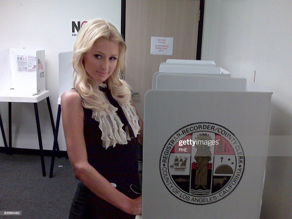 Socialite Paris Hilton Votes At A Polling Station On November 4, 2008 In  Norwalk,