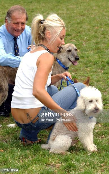 Socialite Tamara Beckwith and her dog Balthazar during the launch of the new 'Love to Lead' campaign in association with Battersea Dogs Home outside...