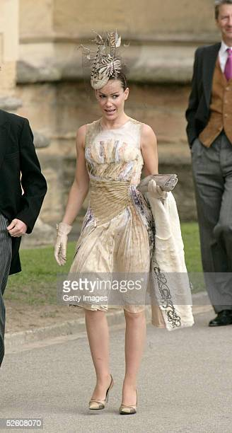 Socialite Tara PalmerTomkinson attends the Service of Prayer of Dedication following the marriage of TRH Prince Charles and The Duchess Of Cornwall...