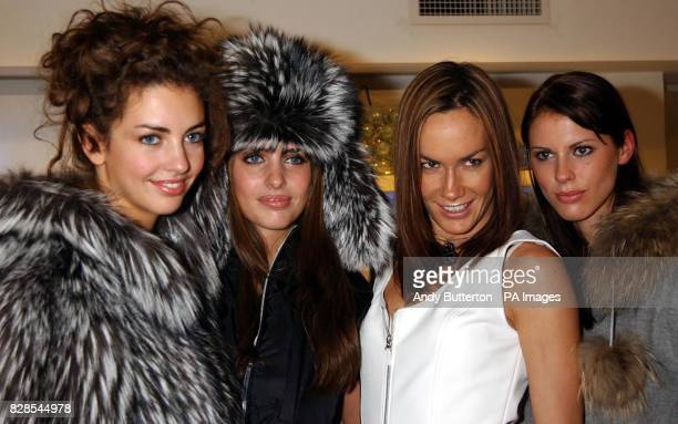 Socialite Tara PalmerTomkinson with Marina Hanbury Rose Hanbury and Petrina Khashoggi model the latest skiwear from Escada Sport at the Escada shop...