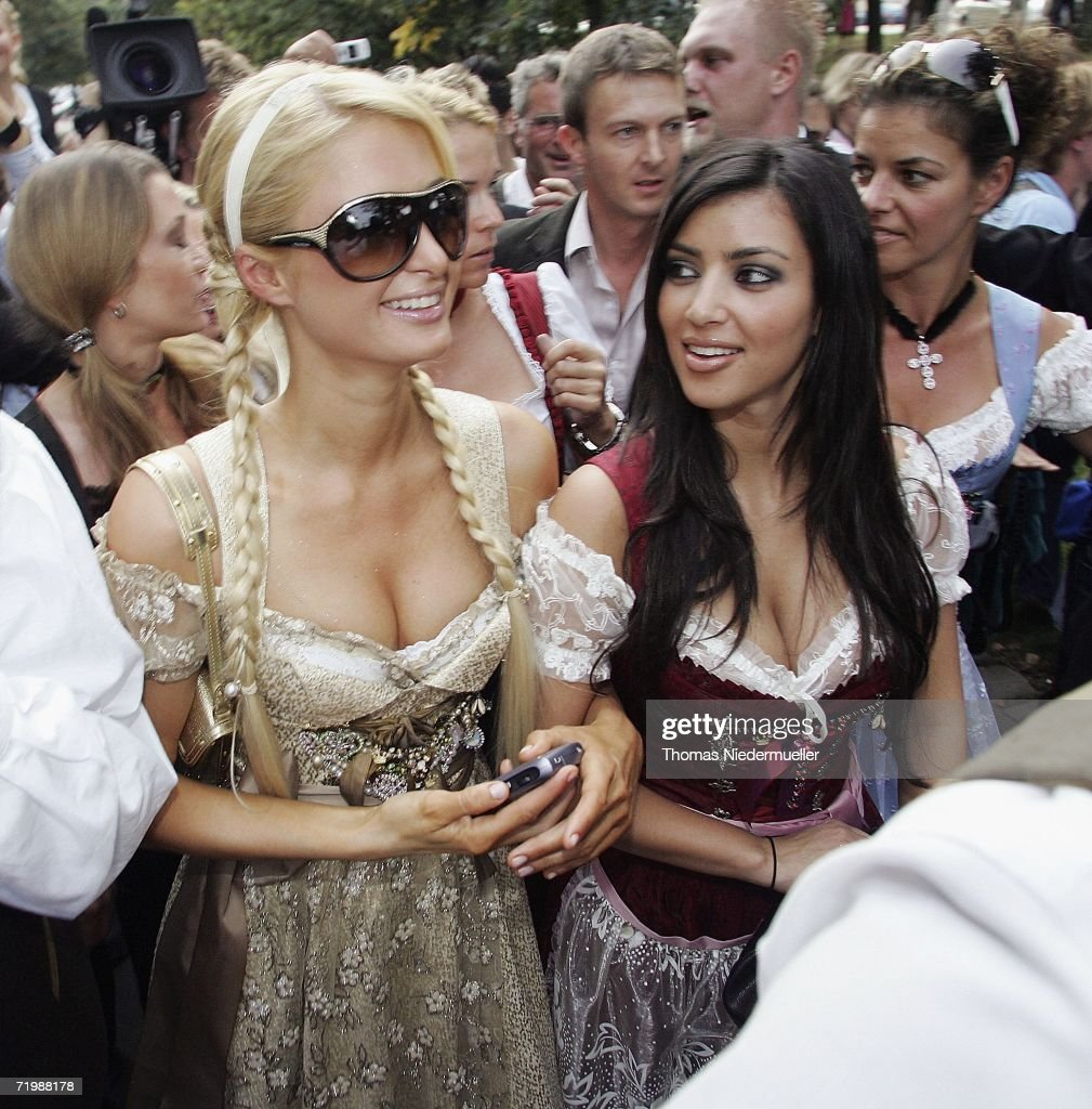 Socialite/actress <a gi-track='captionPersonalityLinkClicked' href=/galleries/search?phrase=Paris+Hilton&family=editorial&specificpeople=171761 ng-click='$event.stopPropagation()'>Paris Hilton</a> and her girlfrind <a gi-track='captionPersonalityLinkClicked' href=/galleries/search?phrase=Kim+Kardashian&family=editorial&specificpeople=753387 ng-click='$event.stopPropagation()'>Kim Kardashian</a> attend the Octoberfest to promote the new canned sparkling wine 'Rich Prosecco' at the Munich Octoberfest on September 25, 2006 in Munich, Germany.