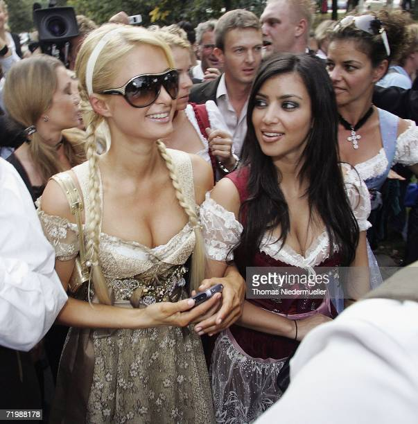 Socialite/actress Paris Hilton and her girlfrind Kim Kardashian attend the Octoberfest to promote the new canned sparkling wine 'Rich Prosecco' at...