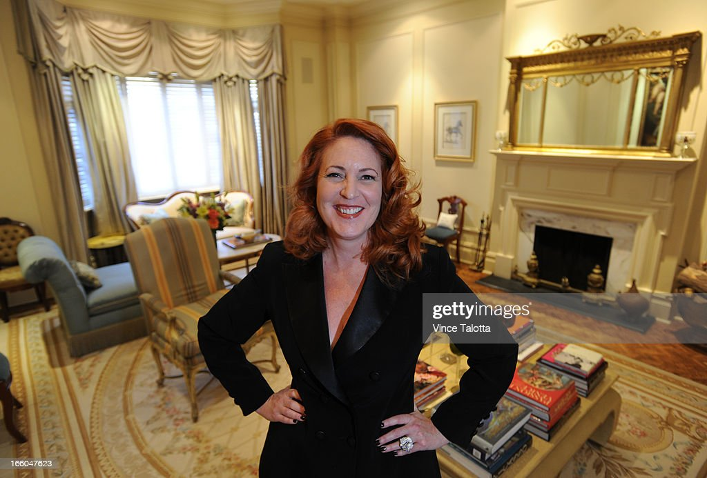Socialite/event planner Mary Symons in her sumptuous home and photos of her home and its attendant decor items for Artist in Residence column by Rita Zekas. Living room
