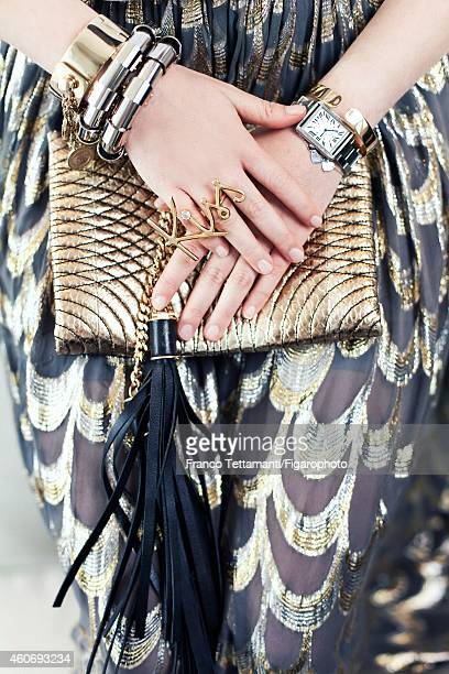 Socialite/model Melusine Ruspoli is photographed for Madame Figaro on September 25 2014 in Paris France Cuff bracelets and Kiss ring watch bracelet...
