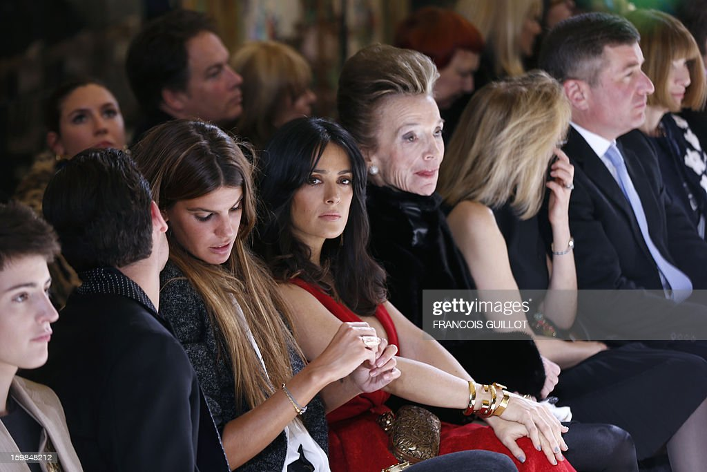 Socialites Harry Brant and Peter Brant Jr, Italian actress and socialite Bianca Brandolini, Mexican actress Salma Hayek, Princess Lee Radziwill, Susan Tolson, wife of US Ambassador to France and Charles Rivkin, US Ambassador to France and Anna Wintour, editor-in-chief of US Vogue, attend Italian fashion designer Giambattista Valli's Haute Couture Spring-Summer 2013 collection shows on January 21, 2013 in Paris.