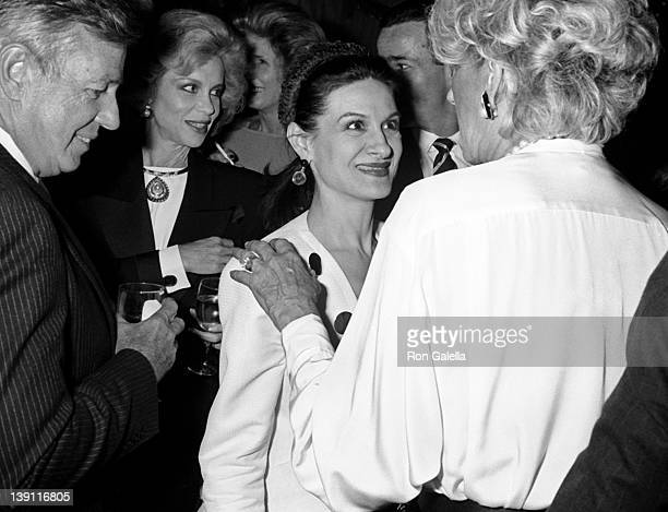 Socialites Lynn Wyatt CZ Guest Paloma Picasso and Pat Buckley attend Fete de Famille III AIDS Benefit on September 27 1988 at Mortimer's Restaurant...