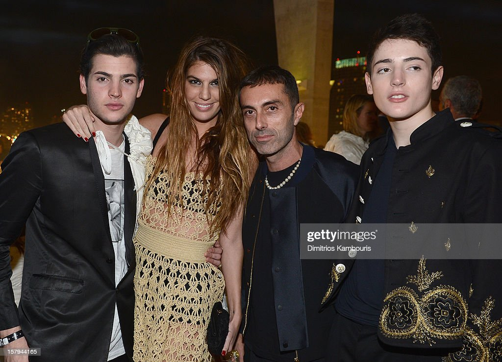 Socialites Peter Brant Jr., Bianca Brandolini, designer Giambattista Valli and Harry Brant attend a party as Moncler Celebrates Its 60th Anniversary At Art Basel Miami Beach on December 7, 2012 in Miami Beach, Florida.