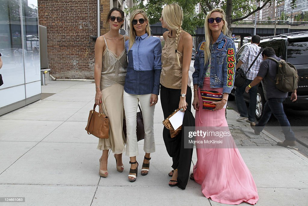 Socialites Prisca Courtin Jenna CourtinClarins Virginie CourtinClarins and Claire CourtinClarins arrive for the Prabal Gurung Showing at the IAC...