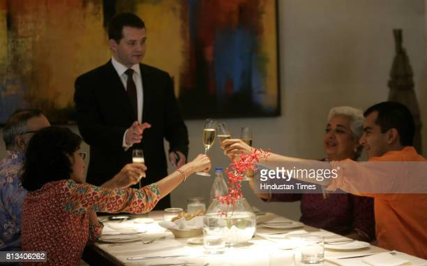 Socialites raising a toast at the opening ceremony at Fenix restauratn at Oberoi in Mumbaiwhich had suffered severe damage in 26/11 terror attacks on...