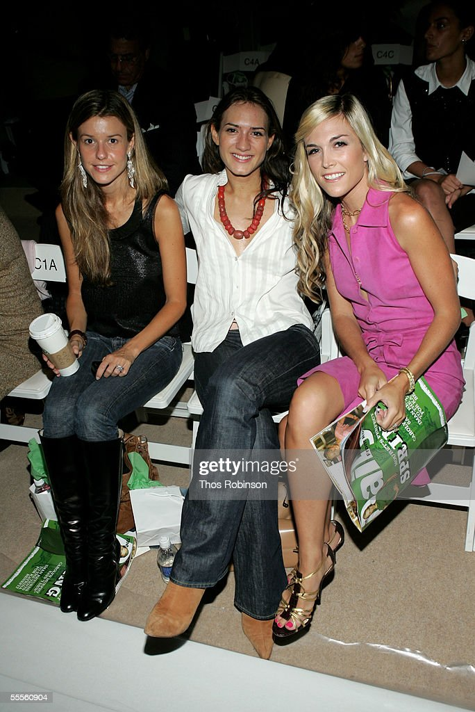 Socialites Zani Gugelman (L) and Tinsley Mortimer (R) attend the Douglas Hannant Spring 2006 fashion show during Olympus Fashion Week at the Bryant Park September 15, 2005 in New York City.