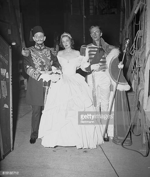 Society at Metropolitan Opera Ball Ben Ali Haggin Mrs Harrison Williams and Cecil Beaton seen as they attended the colorful costume ball held at the...