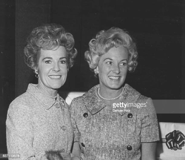 Society Goes To Luncheon Mrs Lewis Hayden left and Mrs Charles Gates Jr viewed fall collection of New York designer Geoffrey Beene Credit Denver Post
