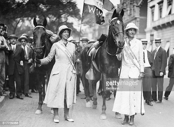 Society horse women crusade for Women's suffrage 1916 Photograph