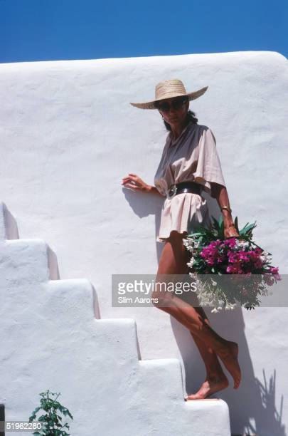 Society hostess and fashion designer Viscountess Jacqueline de Ribes at her house in Ibiza Spain September 1978