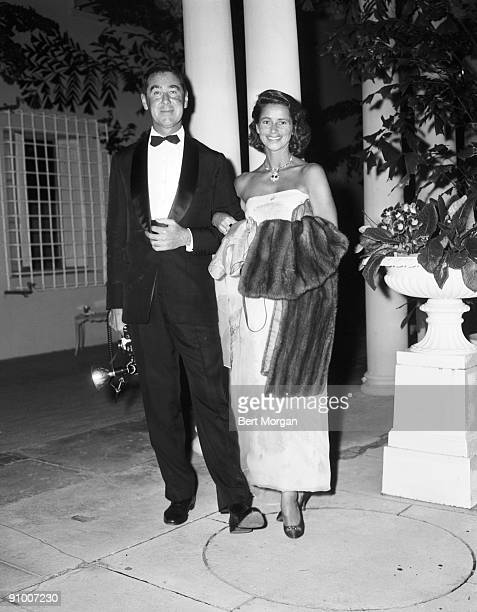 Society photographer Slim Aarons with Mrs Leveritt Shaw at the Candlelight Ball in Palm Beach FLA 1960