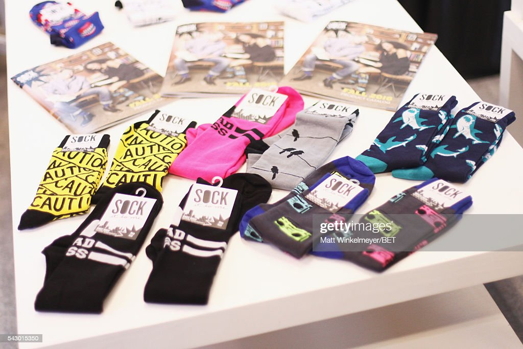 Sock It To Me products are displayed in the BETX gifting suite during the 2016 BET Experience on June 25, 2016 in Los Angeles, California.
