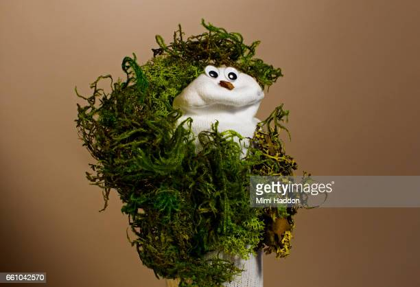 Sock Puppet in Natural Grass Costume