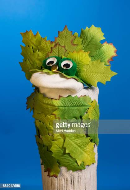 Sock Puppet with Leaf Costume on Blue Seamless
