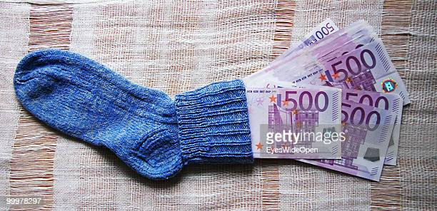 Sock with 500 Euro banknotes on May 09 2010 in Munich Germany