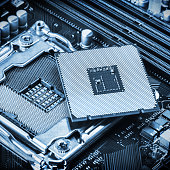 CPU socket and processor on the motherboard. toned image