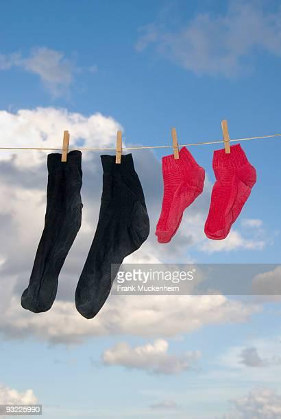 Socks  hanging on clothesline