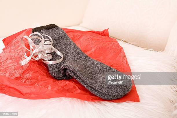 Socks on wrapping paper