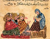 Socrates discussng philosophy with his disciples Arabic miniature from a manuscript Turkey 13th Century