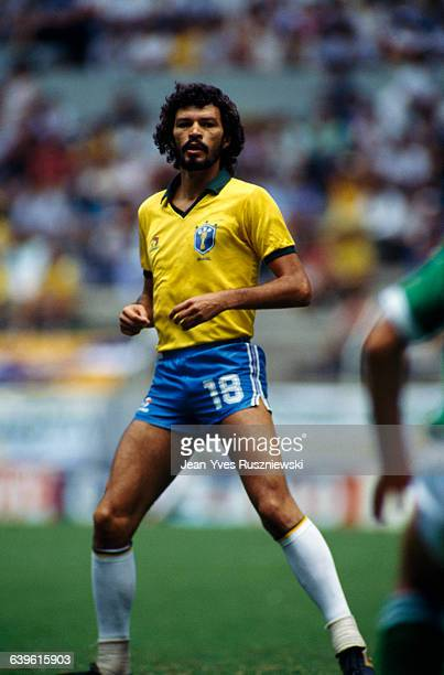 Socrates from Brazil during a first round match of the 1986 FIFA World Cup against Northern Ireland