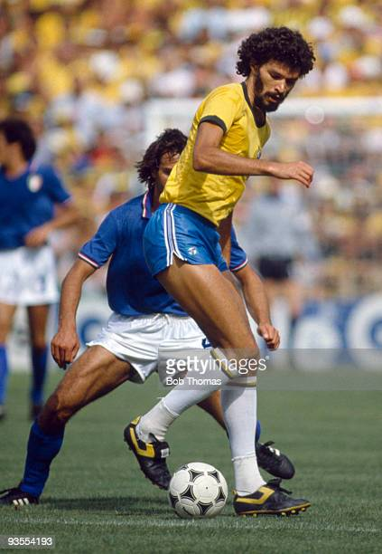Socrates of Brazil during the Italy v Brazil World Cup match played at the Estadio Sarria in Barcelona Spain on the 5th July 1982 Italy won the match...
