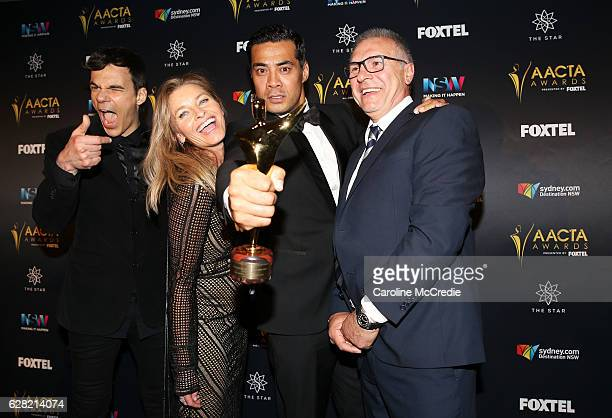 Socratis Otto Tammy MacIntosh Robbie Magasiva and Pino Amenta pose in the media room after winning the AACTA Award for Best Television Drama Series...