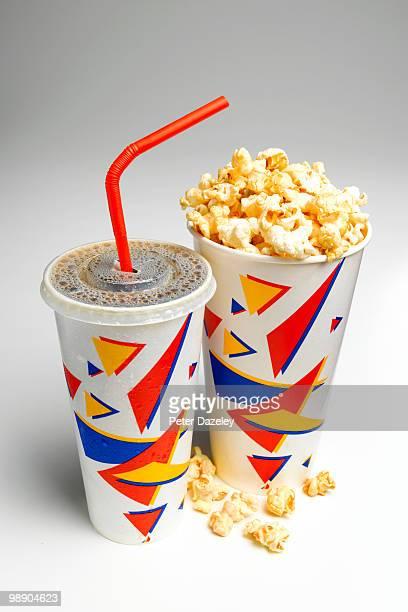 Soda and popcorn