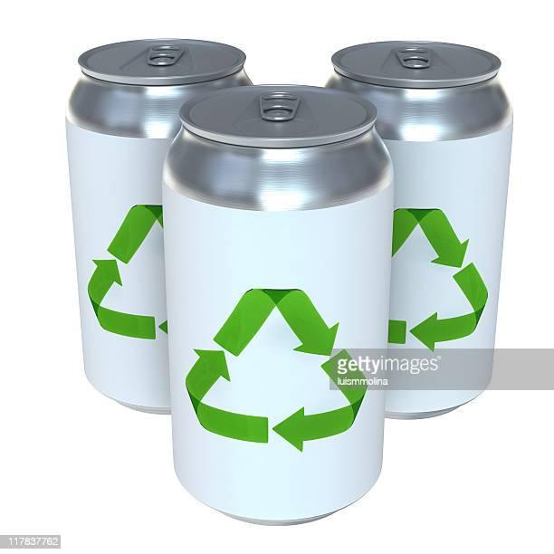 Soda können mit Recycling Symbol