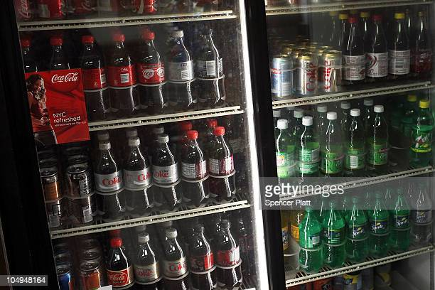 Soda is displayed in a market October 7 2010 in the Brooklyn borough of New York City New York Mayor Michael Bloomberg is proposing an initiative...