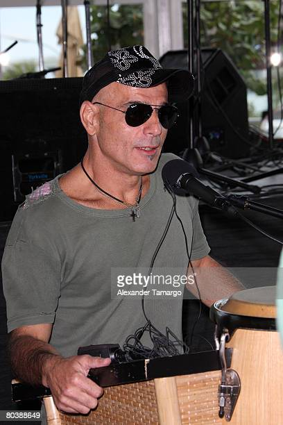Soda Stereo bassist Zeta Bosio speaks during a press conference at Bongos Cuban Cafe March 26 2008 in Miami Florida