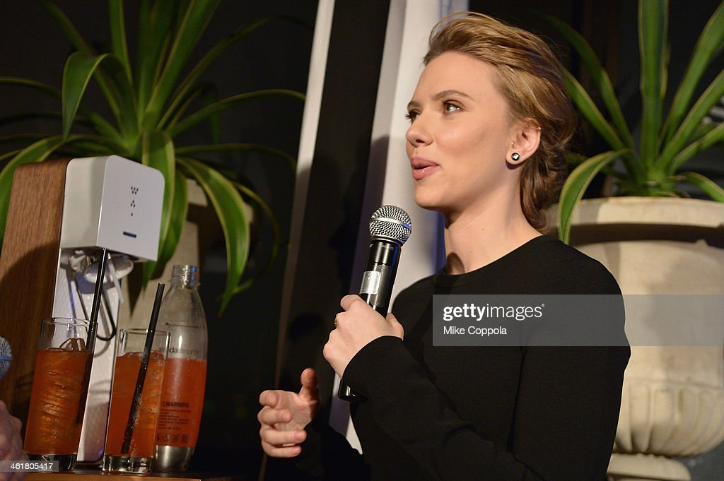 SodaStream unveils <a gi-track='captionPersonalityLinkClicked' href=/galleries/search?phrase=Scarlett+Johansson&family=editorial&specificpeople=171858 ng-click='$event.stopPropagation()'>Scarlett Johansson</a> as its first-ever Global Brand Ambassador at the Gramercy Park Hotel on January 10, 2014 in New York City.