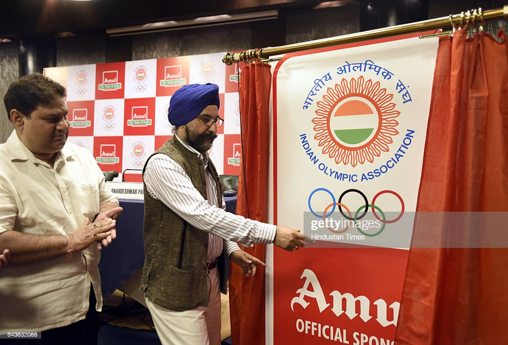 RS Sodhi Managing Director Gujarat Cooperative Milk marketing federation ( Amul) and Rajeev Mehta Secretary General Indian Olympic Association ( IOA) during the announcement of AMUL sponsorship for the RIO 2016 Olympic gameson June 29, 2016 in New Delhi, India.