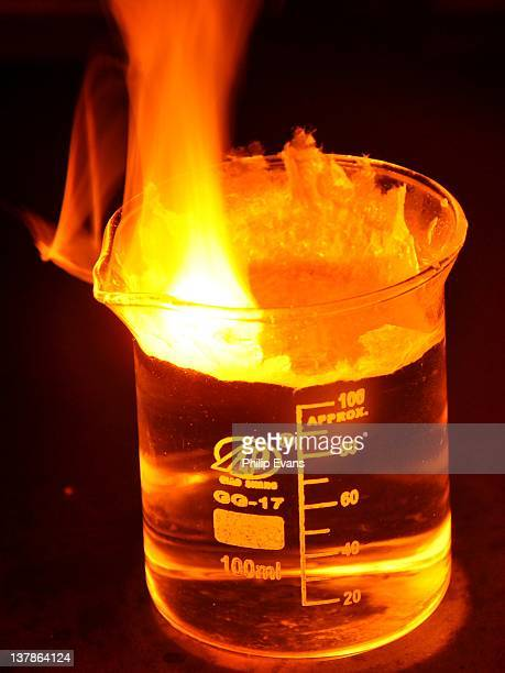 Sodium reacting violently with water Hydrogen formed ignites together with sodium vapor Strongly alkaline sodium hydroxide is formed in solution...