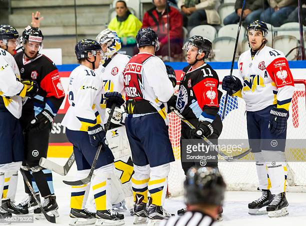 Soendejyske fight to come back after 12 during the Champions Hockey League group stage game between SonderjyskE Vojens and HV71 Jonkoping on...