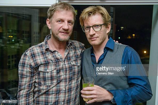 Soenke Wortmann and David Wenham attend the Diesel Constantin Film cocktail reception during 64th Berlinale International Film Festival at Soho House...