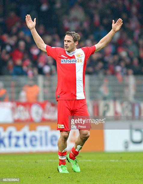 Soeren Brandy of 1FC Union Berlin gestures during the game between Union Berlin and VfL Bochum on february 7 2015 in Berlin Germany