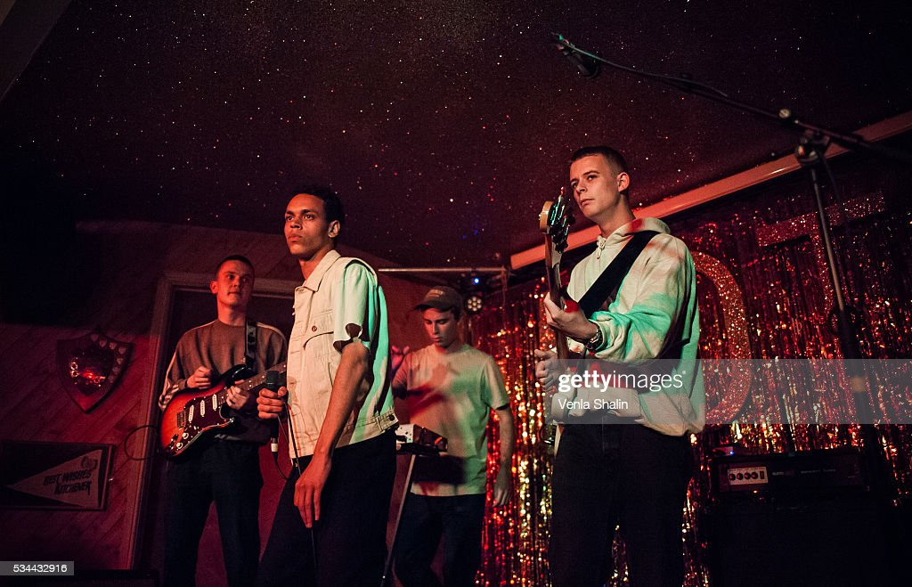 Soeren Holm, Vilhelm Strange and Villads Tyrrestrup of Liss perform at Moth Club on May 24, 2016 in London, England.