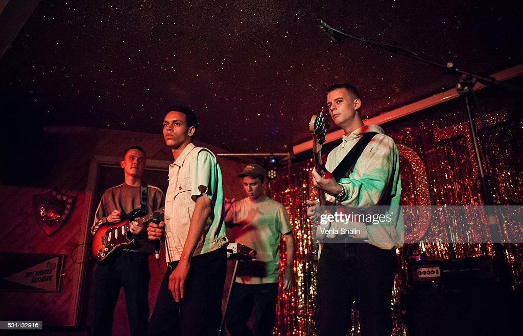 Soeren Holm, Vilhelm Strange and Villads Tyrrestrup of Liss perform at Moth Club on May 24, 2016 in London, England.