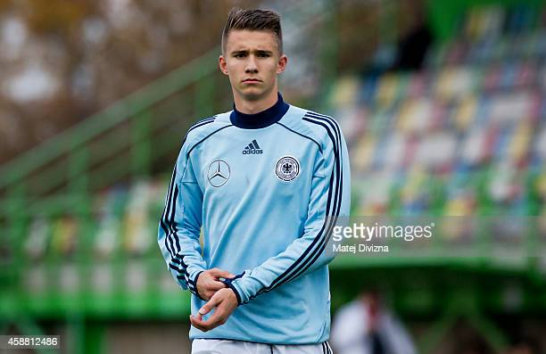 Soeren Lippert of Germany warms up before the international friendly match between U16 Czech Republic and U16 Germany on November 11 2014 in Prague...
