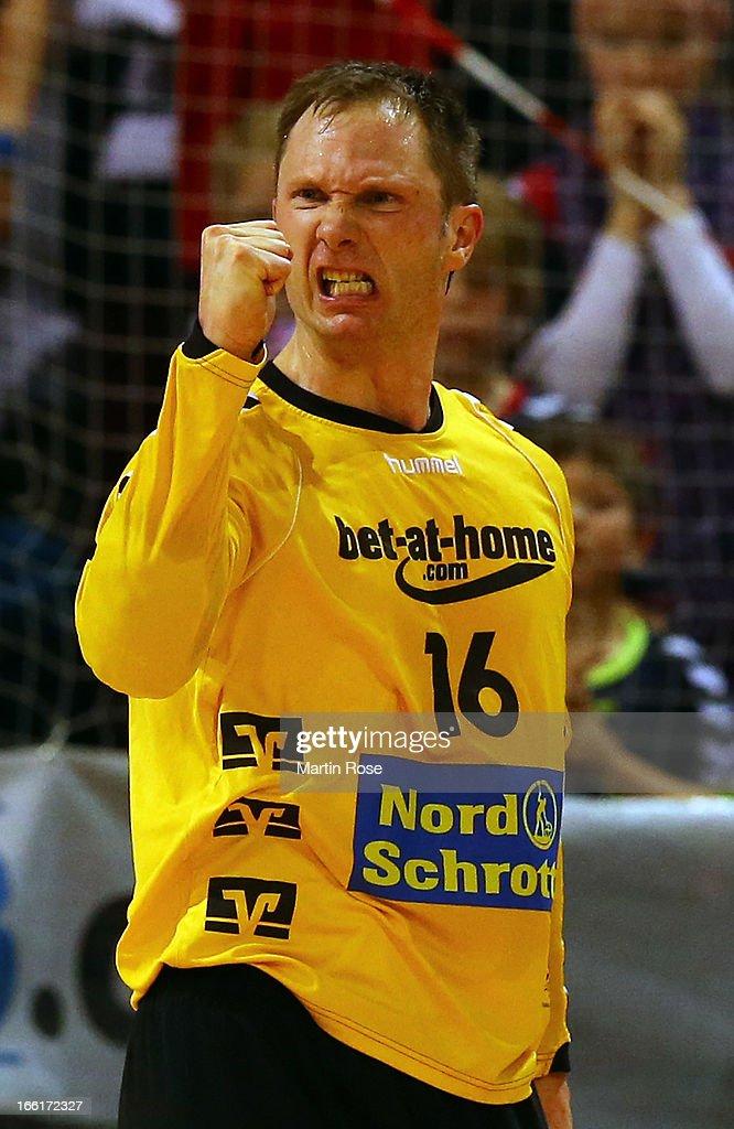 Soeren Rasmussen, goaltender of Flensburg celebrates during the DKB Handball Bundesliga match between SG Flensburg-Handewitt and HSV Hamburg at Flens Arena on April 9, 2013 in Flensburg, Germany.