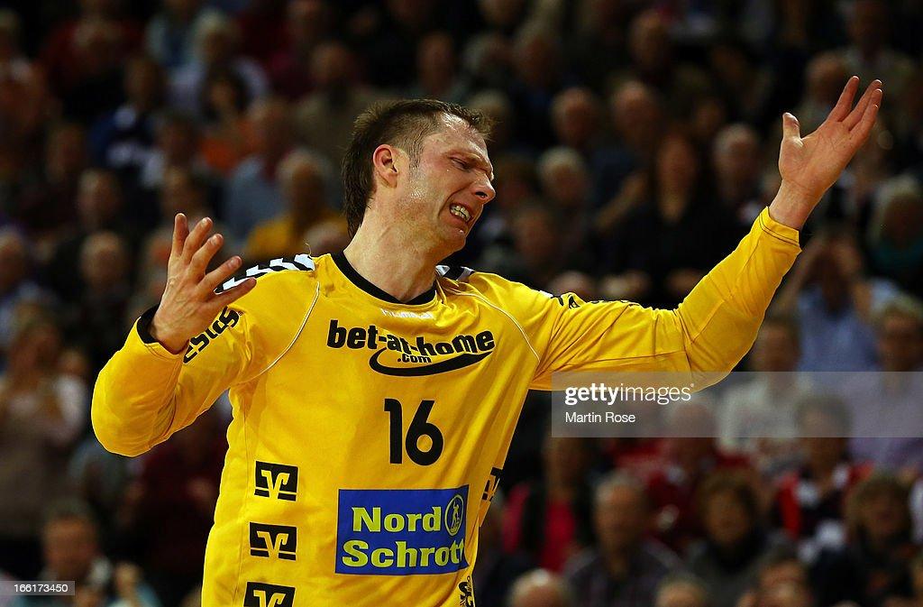 Soeren Rasmussen, goaltender of Flensburg reacts during the DKB Handball Bundesliga match between SG Flensburg-Handewitt and HSV Hamburg at Flens Arena on April 9, 2013 in Flensburg, Germany.